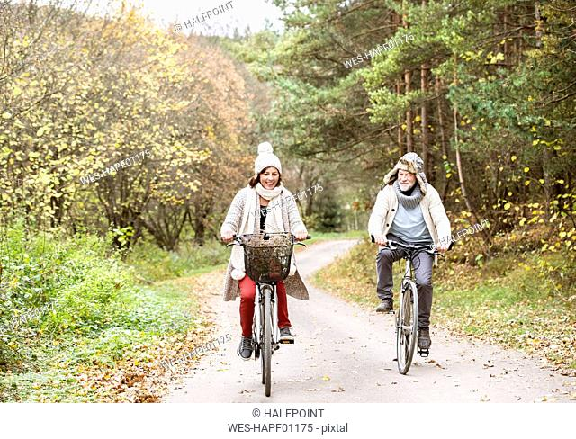 Senior couple doing a bicycle trip