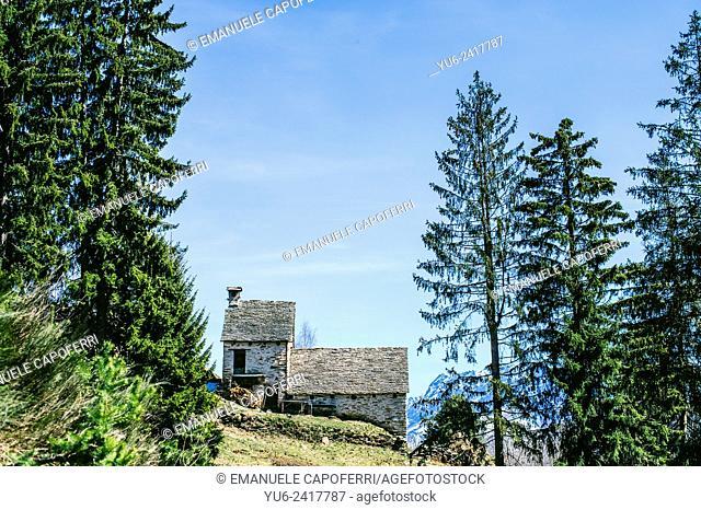 Mountain huts, Craveggia, Vigezzo Valley, Piedmont, Italy