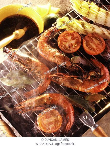 Whole Shrimp with Vegetables on the Barbecue