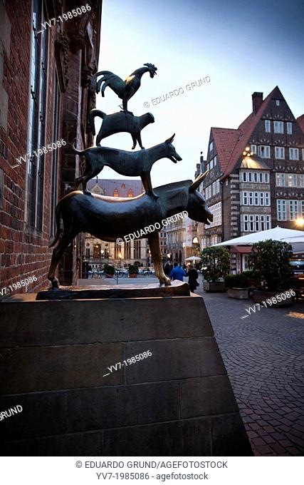 Statue of the Bremen Town musicians. Bremen, Germany, Europe