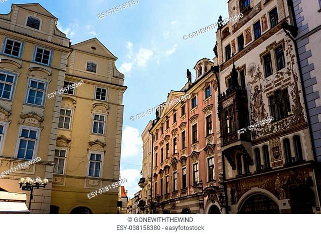 Buildings and houses in the historical center of Prague