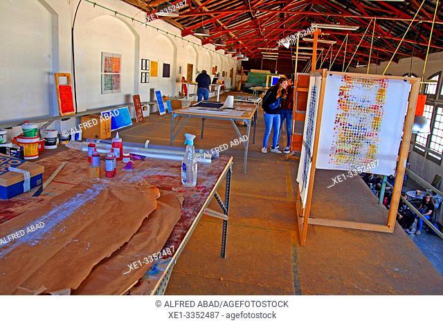 artistic workshops, industrial polygon, plaza del Nou, Zona Franca, Barcelona, Catalonia, Spain