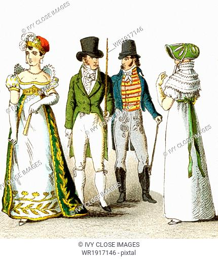 Pictured here are French men and women from 1804-1812. They are from left to right: lady of the court in 1808, gentleman in 1807, gentleman in 1812