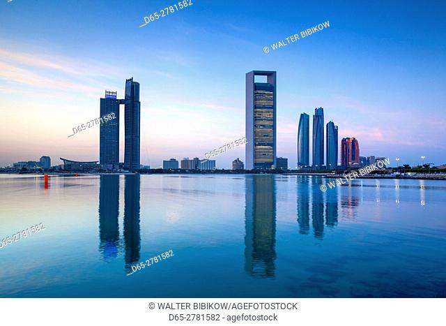 UAE, Abu Dhabi, skyline, Nations Towers, ADNOC Tower, Etihad Towers, dawn