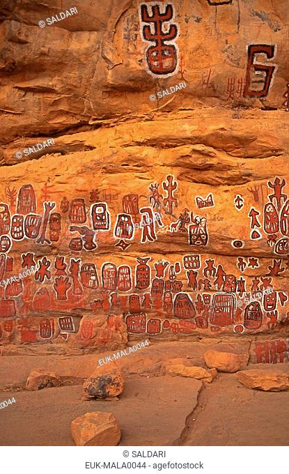 Circumcision grotto and rock paintings in Songo village on the Dogon plateau,Mali