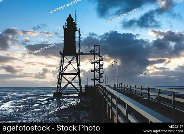 Lighthouse Obereversand, Dorum-Neufeld, Lower Saxony, Germany, Europe