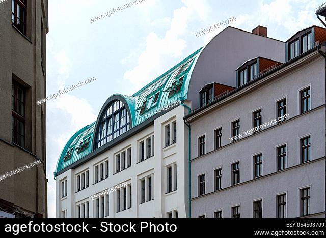 Low angle view of old residential buildings in Berlin Mitte