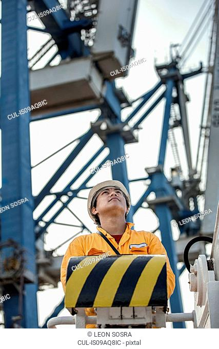 Crane driver looking up from control panel at dock