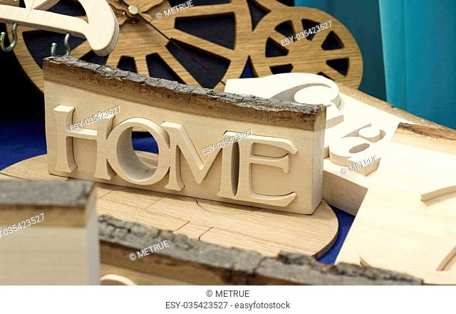 traditional wooden sculpture. natural wood home concept