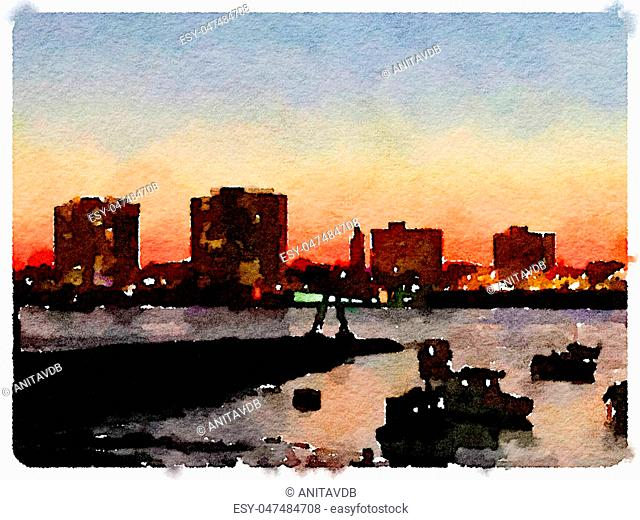 Digital watercolor painting of a skyline at night as the sun is setting with boats anchored in the river. Space for text