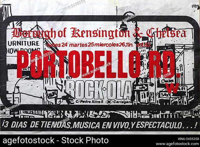 Portobello Rd tour in Madrid Rock Ola 1983,
