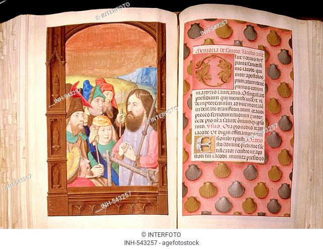 religion, christianity, books, Book of Hours, Netherlands, circa 1500, invocation of Saint James, scripture and miniature, Bavarian State Library, Munich