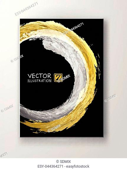 Vector Black white and Gold Design Templates for Brochures, Flyers, Mobile Technologies, Applications, Online Services, Typographic Emblems, Logo, Banners
