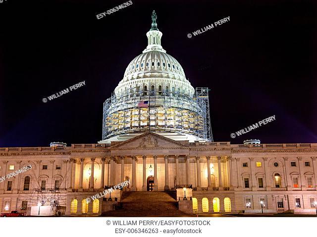 US Capitol North Side Construction Congress House Representatives Senate Capital City Night Stars Washington DC