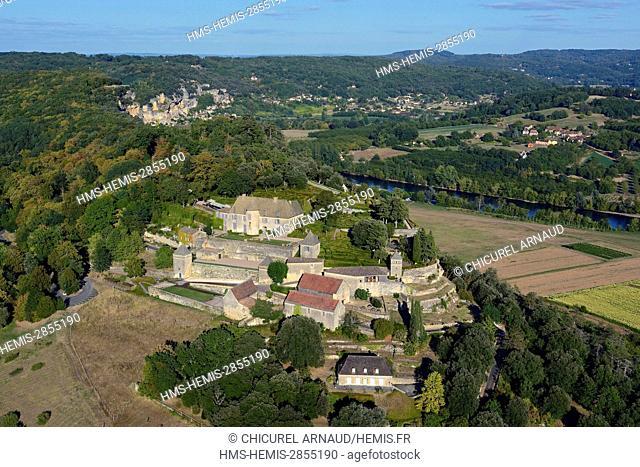 France, Dordogne, Perigord Noir (Black Perigord), Vezac, the gardens of Marqueyssac (aerial view)
