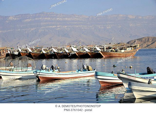 Sultanate of OMAN, fishing boats, named Dhows, in Mirbat harbour