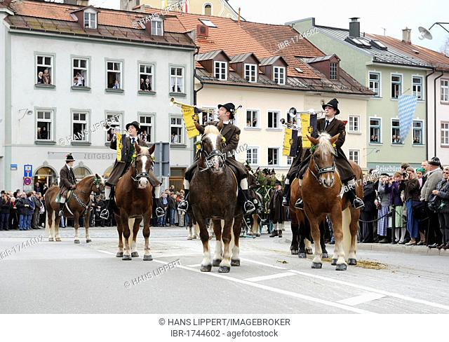 Leonhardifahrt, a procession with horses for the feast day of Saint Leonard of Noblac, fanfare of the Toelzer Schuetzenkompanie, Bad Toelz, Upper Bavaria