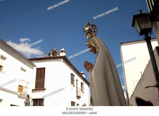 An Image Of Our Lady Of Fatima Is Displayed During A Religious Celebration