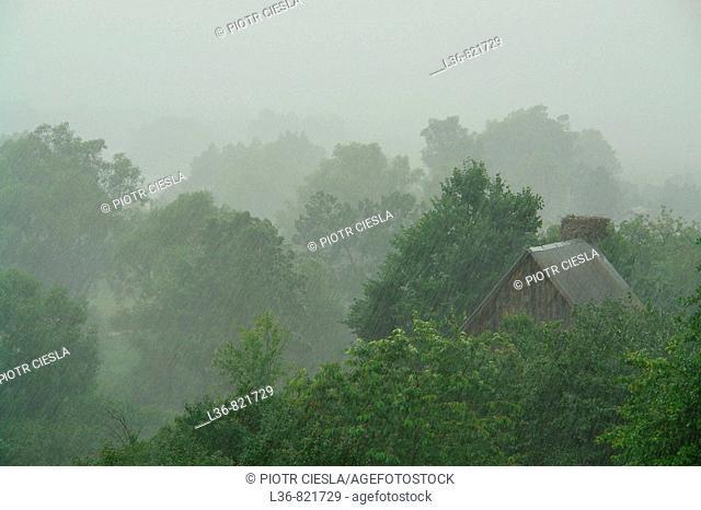 A view Podlasie. Mielnik villiage. Nadbuzanski Scenic Park. Nadbuzanski Park Krajobrazowy. Spring