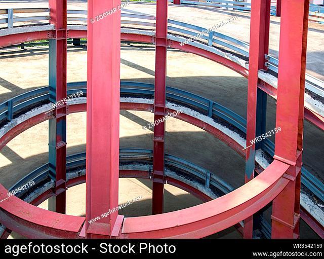 Circular ramp in the modern multi-level parking garage