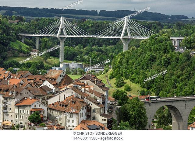 Neue Strassenbrücke in Stadt Fribourg, Pont de la Poya