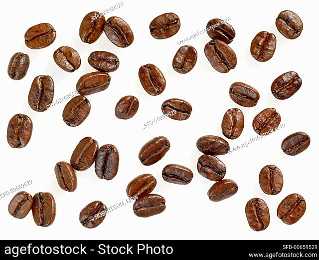 Many Coffee Beans on a White Background