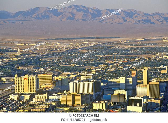 Aerial view of Las Vegas with mountains, NV