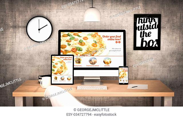 digital generated workplace desktop with digital tablet, computer, laptop and various office objects with order food online website on screen