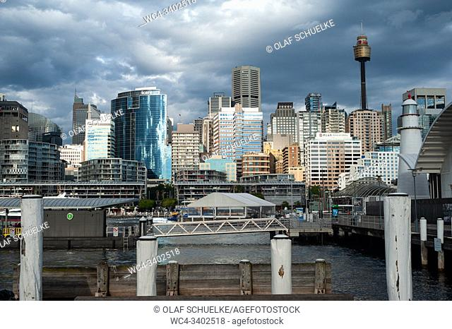 Sydney, New South Wales, Australia - View from the harbourfront at Darling Harbour of the central business district city skyline with the Sydney Tower