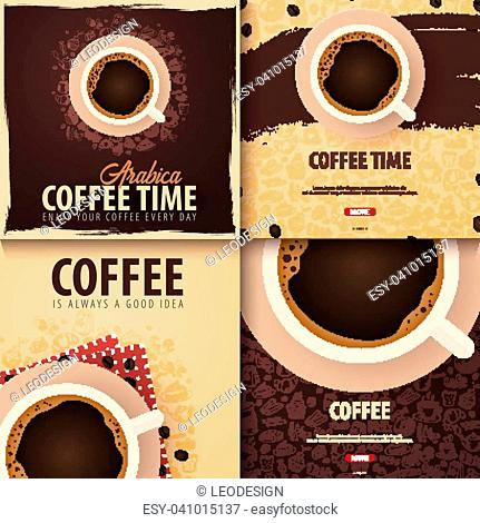 Cup of Black coffee with the hand-draw doodle elements on the background. Set of Coffee banners for ads