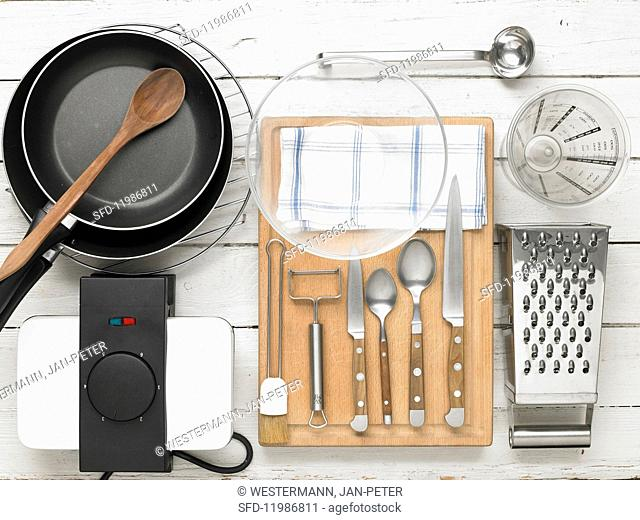 Kitchen utensils for preparing asparagus and potato waffles