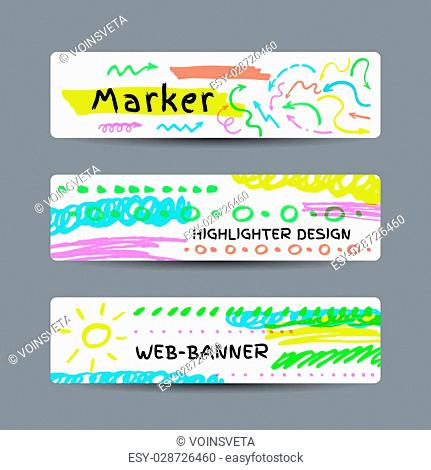 Set of three vector web banners with highlighter strokes and elements
