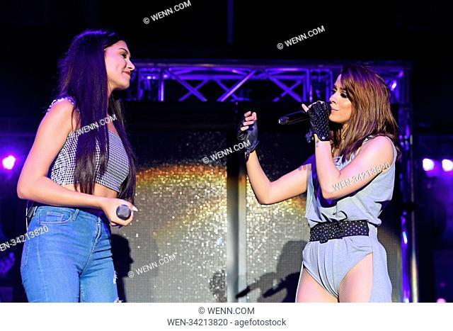 Vanessa Mai and influencer and singer Ana Lisa Kohler perform live at a concert during her 'Regenbogen Live 2018' tour at Tempodrom