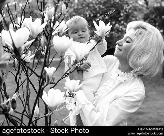 A young mother with her ten-month-old girl on her arm at a flowering magnolia tree in Stuttgart's Wilhelma in April 1963. | usage worldwide
