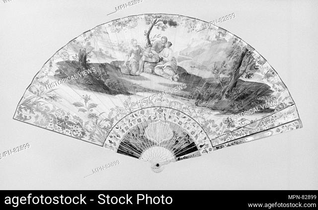 Fan. Date: 18th century; Culture: French; Medium: Paper, ivory; Dimensions: 12 1/4 x 22 1/2 in. (31.1 x 57.2 cm); Classification: Fans; Credit Line: Gift of Mrs