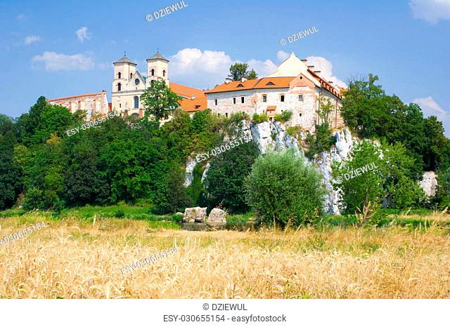 Benedictine monastery and Saint Peter and Paul church on the rocky hill by the Vistula river in Tyniec near Cracow, Poland