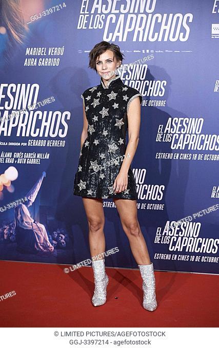Aura Garrido attends 'El asesino de los caprichos' premiere at Verdi Cinema on October 15, 2019 in Madrid, Spain