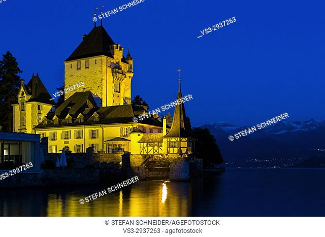 Castle Oberhofen at the shore of Lake Thun in the blue Hour, Oberhofen, Bernese Oberland, Switzerland