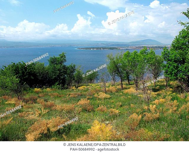 Lake Sewan near the Sewanawank monastery, founded in 874, Armenia, 24 June 2014. The monastery used to be located on a small island in the lake