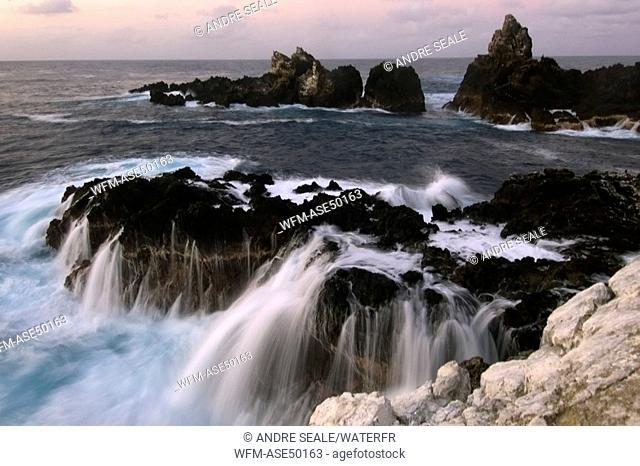Wave crashing over rock, Saint Peter and Saint Paul Rocks, Atlantic Ocean, Brazil