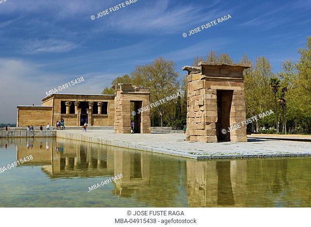 Spain, Madrid City, Debod Gardens, Egyptian Temple of Debod