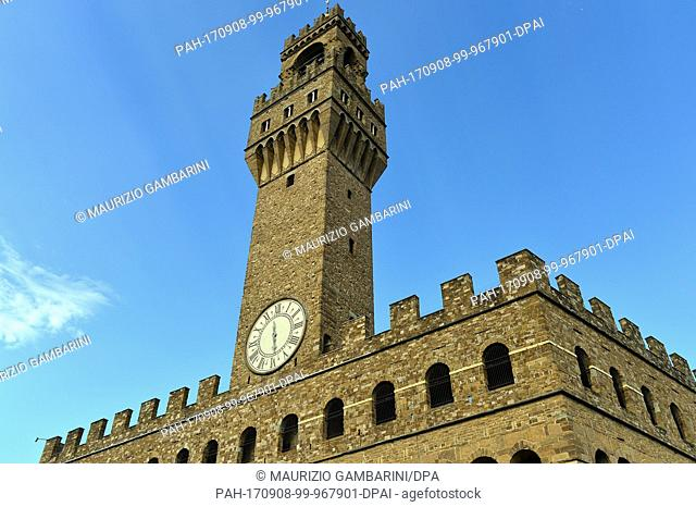 The Palazzo Vecchio, the town hall of Florence with the Arnolfo tower in Florence, Italy, 07 August 2017. The cornerstone of the Palazzo Vecchio in the heart of...