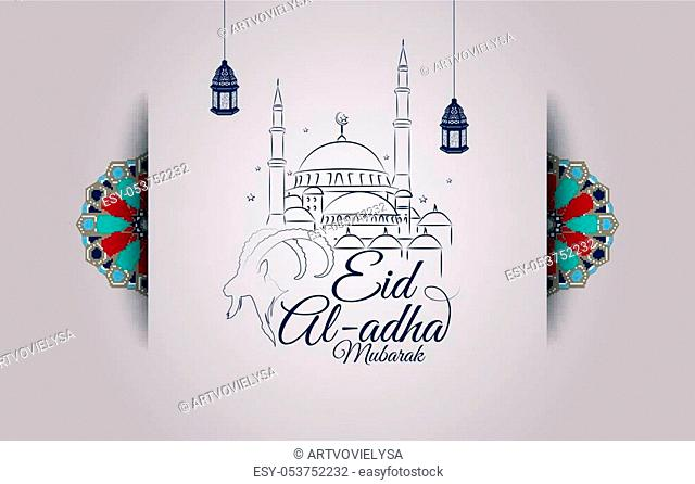 Vector illustration of Eid al-Adha greeting card with goat head and mosque