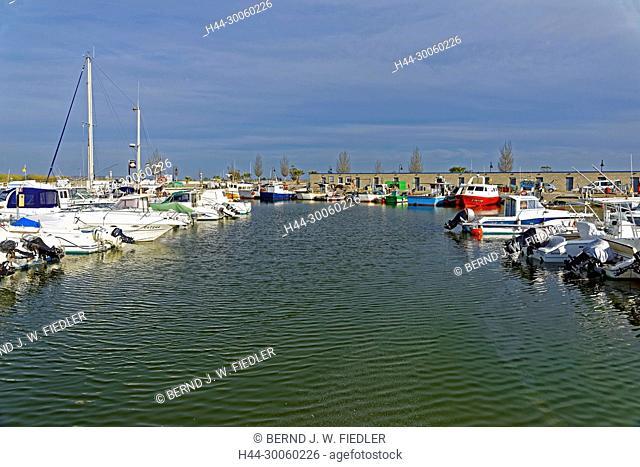 Spain, Tarragona, Riumar, Carretera final Goles de l'Ebre, Ebro's delta, fishing port, sports boot harbour, plants, place of interest, tourism, water, scenery