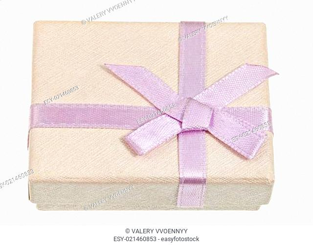 small shining gift box with pink bow