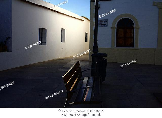 """""""""""Plaza de la Constitución"""" of Sant Francesc, the main square of Formentera where the town hall and the principal church of the island are (Baleares, Spain)"
