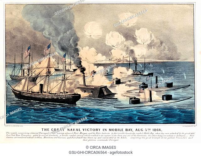The Great Naval Victory in Mobile Bay, Aug 5th, 1864, Lithograph, Currier & Ives