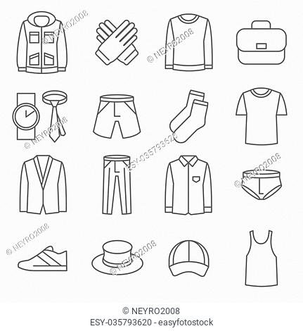 Mens clothes vector line icons set. Fashion clothes, icon man clothes, shoe and jacket clothes illustration