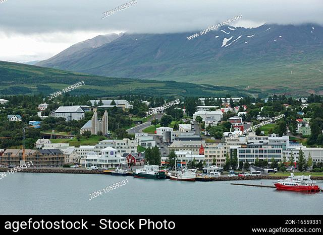 Akureyri, Iceland - July 27, 2017: View of a city center and Akureyrarkirkja church in Akureyri in Iceland