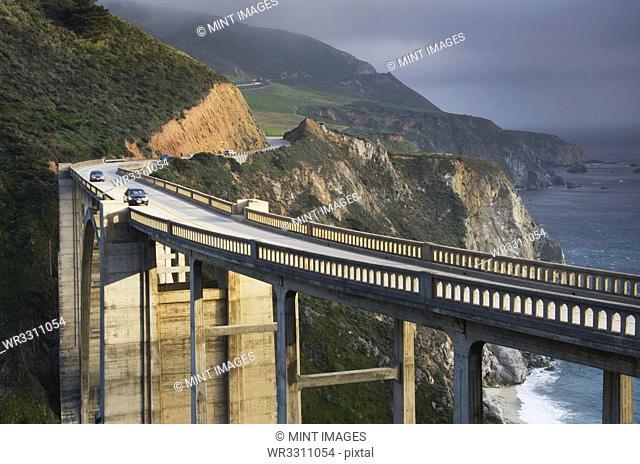 Elevated highway overlooking coastal cliffs